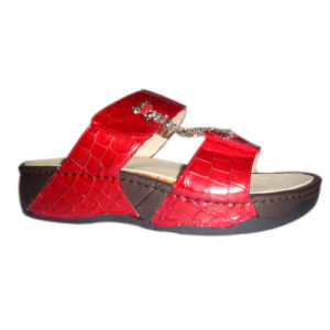 scarpa dunapop rossa con strappi e strass
