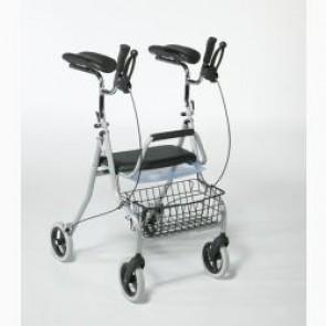 rollator pieghevole con appoggi antibrachiali, sedile, vassoio e cestino codice R022