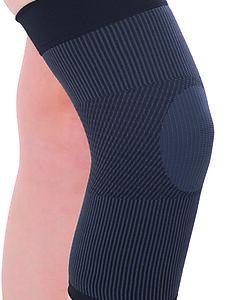 Ginocchiera contenitiva per l'attività fisica e non anche contro il gonfiore post-traumatico o protezione varici localizzate. In aloevera, antibatterica e traspirante